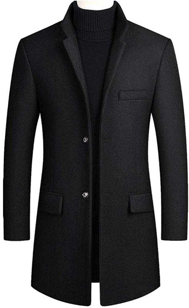 Mens Casual Wool Blend Stand Collar 2 buttons Cotton Quilted Lined Midi Long Jacket Trench Coat Outwear