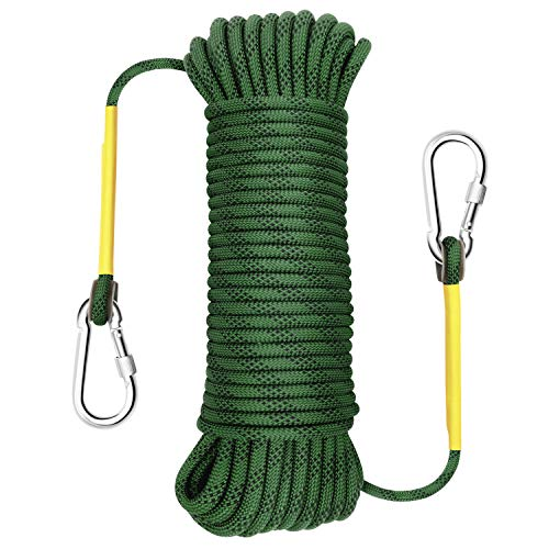 Gonex Static Climbing Rope 8mm Safety High Strength Tree Climbing Rappelling Rope Indoor Gym Outdoor Hiking Magnet Fishing Fire Escape Rope 32ft Army Green
