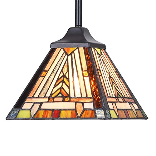 Cotoss Tiffany Mini Pendant Light Fixtures Hanging Lamp 1 Light Mission Style Stained Glass Lamp Shade Hanging Lights for Kitchen Island Covered Porch