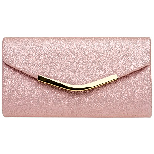 Caspar TA370 elegante Damen Envelope Clutch Tasche Abendtasche mit langer Kette, Farbe:pink, Größe:One Size