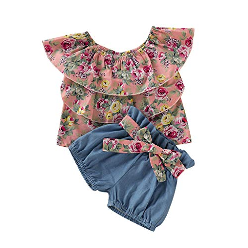 BeautyTop Toddler Kinder Bekleidung Kleinkind Baby Mädchen Forum Rüschen Weste T-Shirt T-Shirt + Einfarbig Shorts 2Pcs Outfits Set Kleiderset Sommerkleidung für Kinder Mädchen