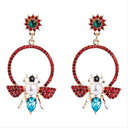 Pendientes de perlas con incrustaciones de aleación de estilo retro, con pedrería de moda, lindo colgante de abeja, pendientes largos de mujer 6.5 * 3.5cm rojo