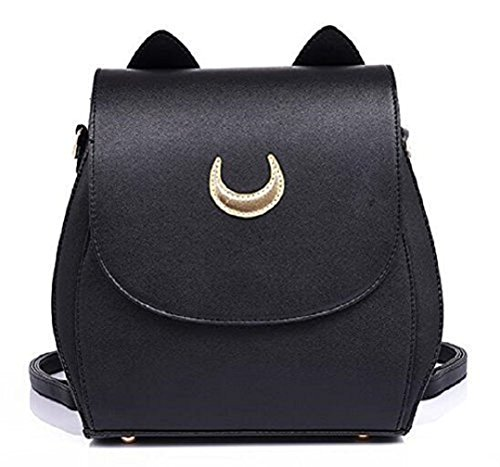 YOYOSHome Sailor Moon Anime Luna Usagi Tsukino Cosplay PU Backpack School Bag (Black) by YOYOSHome