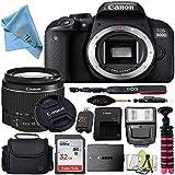Canon EOS T7i/800D DSLR Camera w/Canon EF-S 18-55mm Lens + Case + 32GB SD Card + More + ZeeTech Cloth (Starter 32GB)