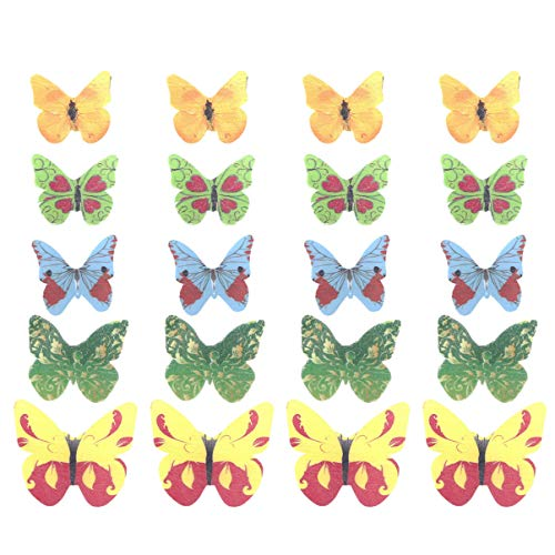 Wakauto Set of 40 Piece Edible Butterflies Cake & Cupcake Toppers Mixed Colour, Cake Decorations Happy Birthday Cake Tools for Birthday Wedding