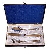 Set 3 cubiertos acero inoxidable 18/10 Gnutti bicolor detalles dorados cuchara cuchillo tenedor - Personalizable - GRABACIÓN INCLUIDA EN EL PRECIO