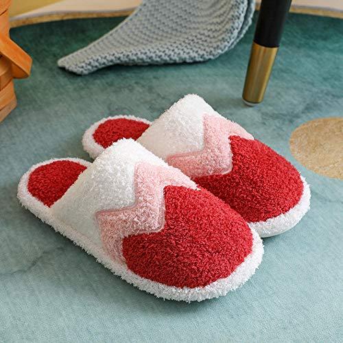 Lindo piso de algodón zapatos de casa, par de zapatillas de invierno para hombres mujeres, niñas niños zapatillas cálidas, zapatillas antideslizantes rojas_35-36