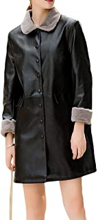 Women's Button Up Faux Leather Thicken Outwear Long Trench Coats