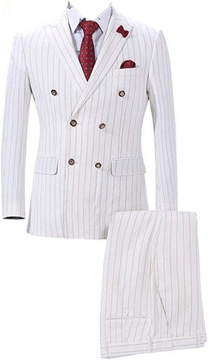 Mens Double Breasted White with Yellow Strip 6 Buttons Blazer Jackets Wedding Groomsmen Suits