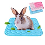 2-Pack Guinea Pig Bed Bunny Bed for Summer, Pet Cooling Mat Pad for Rabbits Guinea Pigs Chinchillas Washable Breathable Ice Silk, M, Blue+ Pink