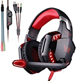 KOTION Each G2000 Gaming Headset,Xbox One Headset with 7.1 Surround Sound&Noise Canceling Mic&LED Light,Bass Surround,Compatible with PS5,PC,Nintendo Switch,PS4, Xbox One Controller-Red