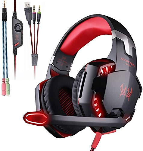 KOTION Each G2000 Gaming Headset,Xbox One Headset with 7.1 Surround Sound&Noise Canceling Mic&LED Light,Bass Surround,Compatible with PS5,PS4,PC,Nintendo Switch,Xbox One Controller-Red