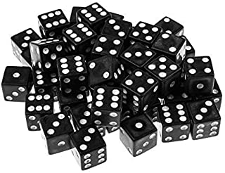 Super Z Outlet Standard 16mm Black Dice with White Pips Dots for Board Games, Activity, Casino Theme, Party Favors, Toy Gifts (100 Pack)