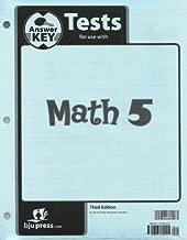 Math 5 Test Answer Key 3rd Edition