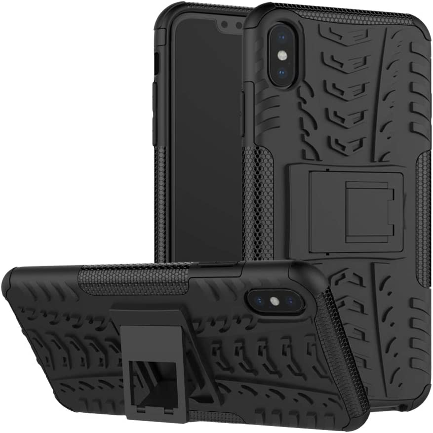 for iPhone XR Military Grade Armor Case with Kickstand Heavy Duty Hybrid Holster Rubber Dual Layer Protection Shockproof Cover (Not Bulky) (Black)