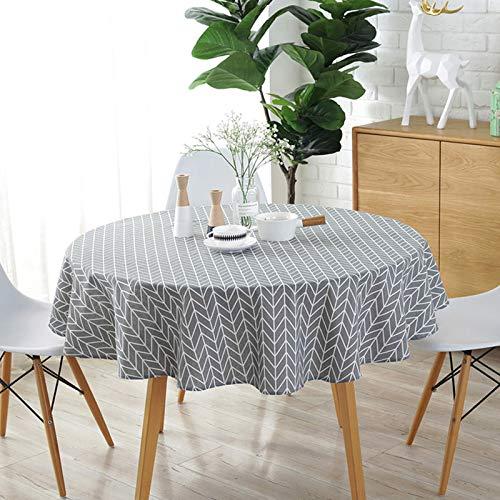 WolinTek Manteles Mantel Redonda Cubierta de Mesa de Lino de algodón Redondo Manteles de Sarga Simples Adecuado para Buffet, Boda, Restaurante, Fiesta,(150cm de diámetro) (Gris)