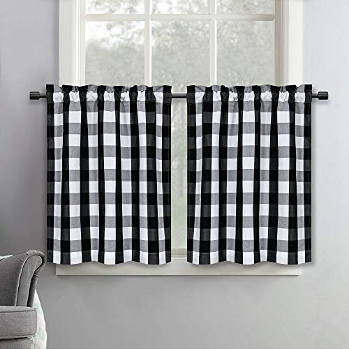 SeeGlee 36 Inches Long Black and White Buffalo Check Window Kitchen Tier Curtains Valances, Plaid Country Style Curtain Tiers for Bathroom Loft (29 W x 36 Inch Length,2 Panels)