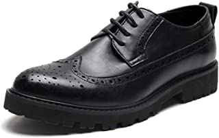 PengCheng Pang Formal Brogue Oxfords for Men Casual Shoes Lace up Microfiber Leather Pointed Toe Wingtip Carving Wear-Resistant Thick-Bottom Anti-Slip (Color : Black, Size : 6 UK)
