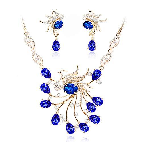 Yddxy Pendiente del Collar Pendiente del Pavo Real del Rhinestone Mujer Circonio Cúbico De Aleación De Moda Conjunto De Joyas (Pendiente + Collar),C