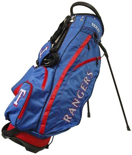 Team Golf MLB Texas Rangers Fairway Golf Stand Bag, Lightweight, 14-way Top, Spring Action Stand, Insulated Cooler Pocket, Padded Strap, Umbrella Holder & Removable Rain Hood