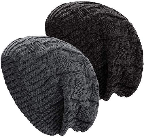 YSense 2-pak czapka beanie dla pań, miękka rozciągliwa czapka narciarska Bobble luźno zimowe czapki dla kobiet