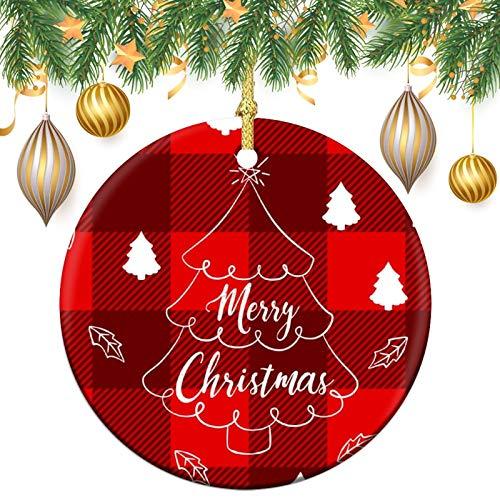 Adornos de retales rojos con diseño de cuadros de 7,6 cm, de cerámica, para árbol de Navidad, decoración de árbol de Navidad, colgantes para amigos, cuarentena familiar, Navidad, Año Nuevo Invierno