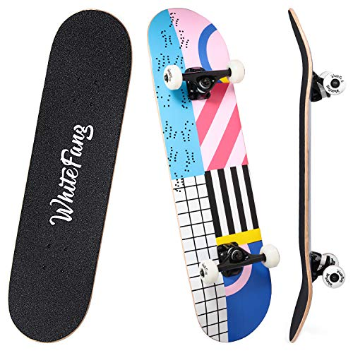 WhiteFang Skateboards 31 Inch Complete Skateboard Double Kick Skate Board 7 Layer Canadian Maple Deck Skateboard for Kids and Beginners(Shine Life)