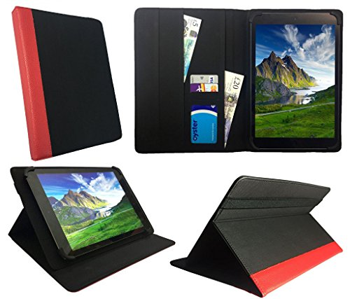 Archos 101 Platinum 3G Tablet / Diamond Tab ( 2017 ) 10.1 zoll Black with Red Trim Universal Wallet Hülle Cover Folio ( 10 - 11 zoll ) von Sweet Tech