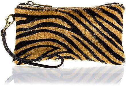 FIRENZE ARTEGIANI. Mattarello Bolso de Mano Mujer.Piel auténtica Cavallino Tigre Dollaro .Made in Italy. Vera Pelle Italiana.19x2x10 cm. Color: Tigre Negro.
