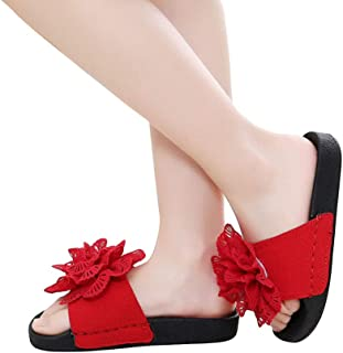 Hopscotch Girls Polyester Flower Applique Flip Flops in Red Color