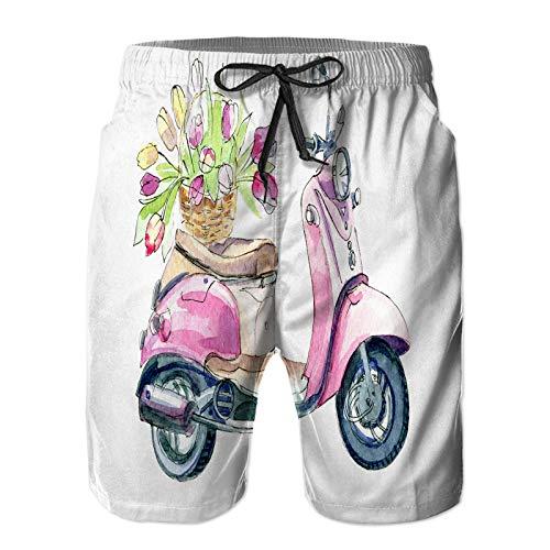 Aerokarbon Hombres Playa Bañador Shorts,Acuarela ilustración Retro Scooter Ramo Flores,Traje de baño con Forro de Malla de Secado rápido 3XL