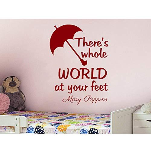 sufengshop Mooie Art Design Quotes Vinyl Muursticker Er is Hele Wereld aan Uw Voeten Met Leuke Paraplu Kamer Decor Wandmuurschildering Grootte 56×76cm