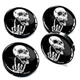 SkinoEu® 4 x 60mm Universal Tapas de Rueda de Centro Cráneo Heavy Metal Tapacubos para Llantas Coche C 27