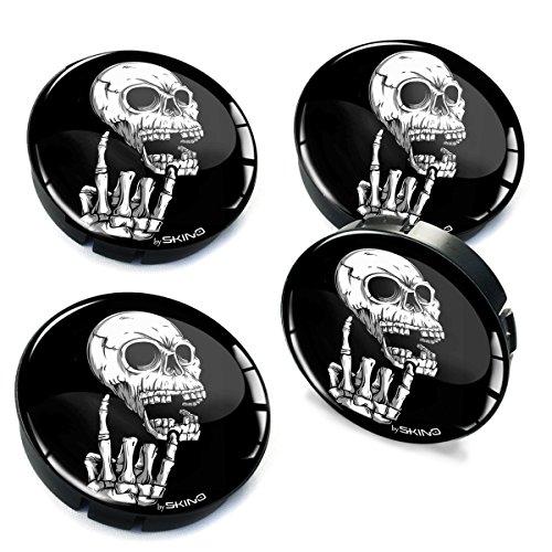 SkinoEu® 4 x 60mm Silikon Nabenkappen Kappen Totenkopf Schädel Skull Felgendeckel Radkappen Radnabendeckel Nabendeckel Auto Tuning C 27
