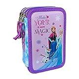 M.C. srl Astuccio Scuola 3D Frozen Disney Elsa MULTISCOMPARTO 3 Zip PORTACOLORI Carioca - FR0719