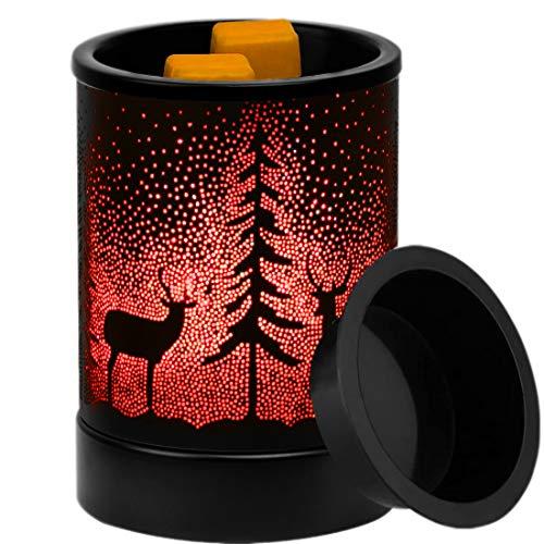 YZCX Brûleur de Cire Électronique Réchauffeur de Fonte de Cire à Parfumées Lampe de Aromathérapie Métal 3D Veilleuse avec 7 Couleurs Lumières LED pour Chambre Salon Spa Yoga Massage (Cerf)