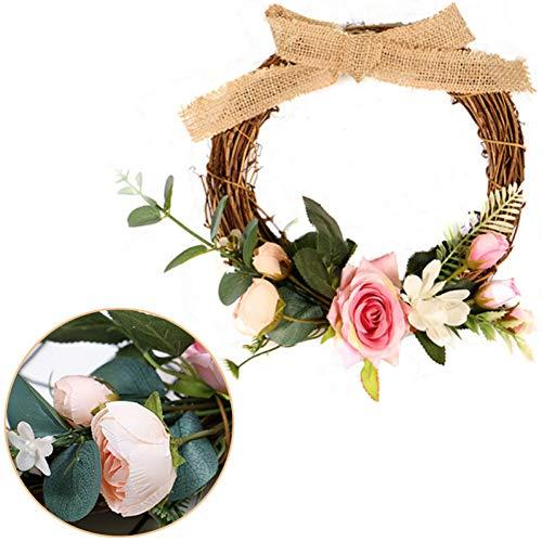 GSYDERENZH Künstliche Türklopfer Simulation Silk Rose Blumen Kranz Schaum Stroh Girlande Hochzeitsdekoration Home Party Event Decor