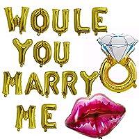 バナーローズゴールドBollons | 17pcs / lotのでしょうあなたと結婚私の手紙ダイヤモンドリングのリップスエアバルーンのために花嫁は除草パーティーブライダルシャワーの装飾、示されているように、中国であることを
