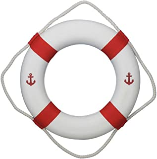 Hampton Nautical Classic White Decorative Anchor Life Ring with Red Bands, 20