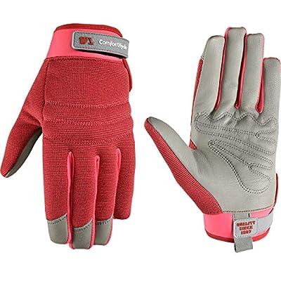 Women's Stretch ComfortHyde Leather Hybrid Work Gardening Gloves, Medium (Wells Lamont 7871)