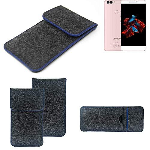 K-S-Trade Handy Schutz Hülle Für Bluboo Dual Schutzhülle Handyhülle Filztasche Pouch Tasche Hülle Sleeve Filzhülle Dunkelgrau, Blauer Rand