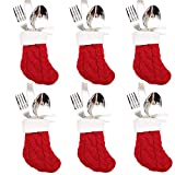 DegGod 6Pcs Christmas Tableware Silverware Holders Set, Red Knitted Christmas Stockings Knife and Fork Bags Covers for Thanksgiving New Year Party Decorations Xmas Dinner Table Decor Ornaments(Red)