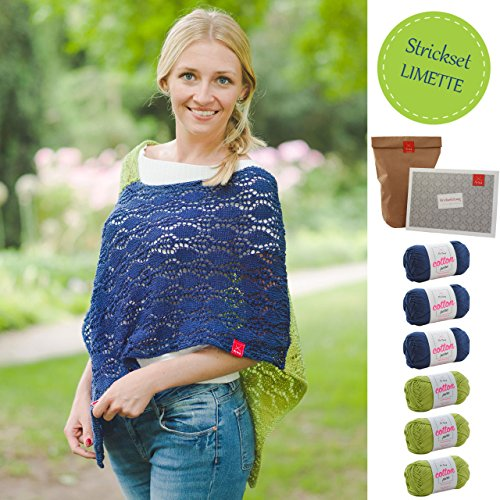 MyOma Strickset Poncho -DIY Poncho Stricktraum- Poncho Stricken Set mit 6 Knäuel Baumwolle Cotton Pure + GRATIS Label + Poncho Stricken Anleitung – Strickpackung – Strickpaket – Poncho Stricken