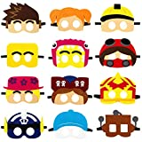 Haooryx 12Pcs Robot Blocks Party Masks, Costume Party Dress Up Felt Mask Sandbox Game Decor Supplies Blox Builder Pretend Play Accessories Photo Booth Prop for Baby Shower Kids Birthday Party Favors