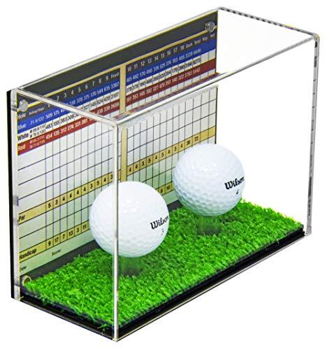 Better Display Cases Klare Acryl Zwei (2) Golfball Vitrine mit schwarzem Rücken und Rasenboden (A045A-TB)