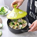 TXOZ Cazuela de sopa Cazuela de cerámica marroquí Marruecos Stef Pot Nonstick Pot Hogar Pan Heatresistant con base de hierro fundido y tapa de embudo de gres para todos los tipos de platos