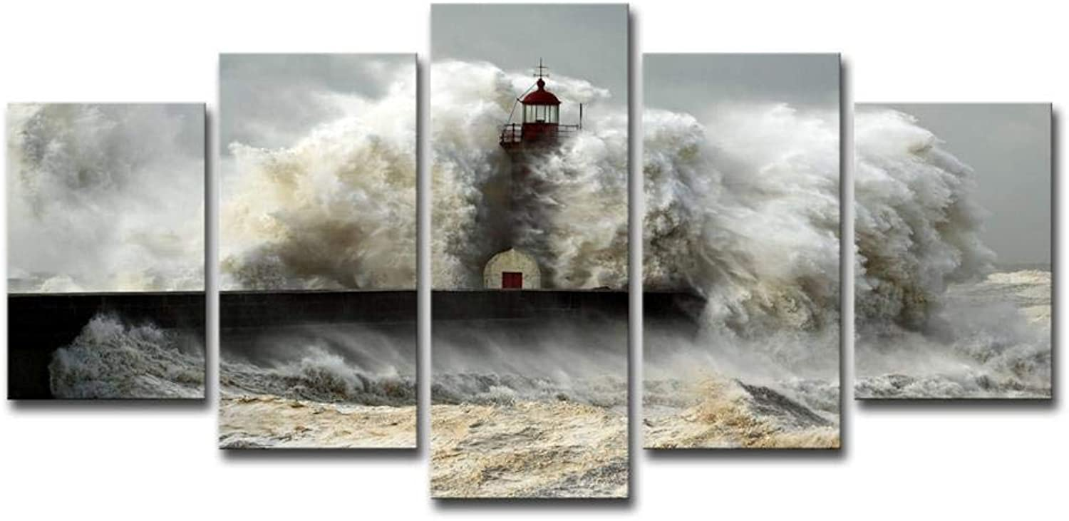 ChuangYing Home Decoration Living Room Wall Art Background Lighthouse Dam Reservoir Seaview Painting Wall Sticker