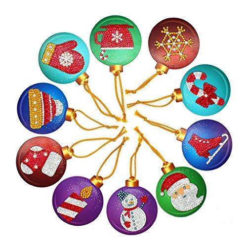 AMOYER 10pcs Weihnachts Label-Karten-Set 5d DIY Diamant-malerei-postkarten Kreative Weihnachtsbaum-Dekoration Für Kinder-fertigkeit-Dekoration