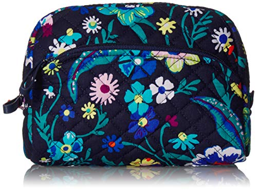 Vera Bradley Women's Signature Cotton Medium Cosmetic Makeup Bag, Moonlight Garden, One Size