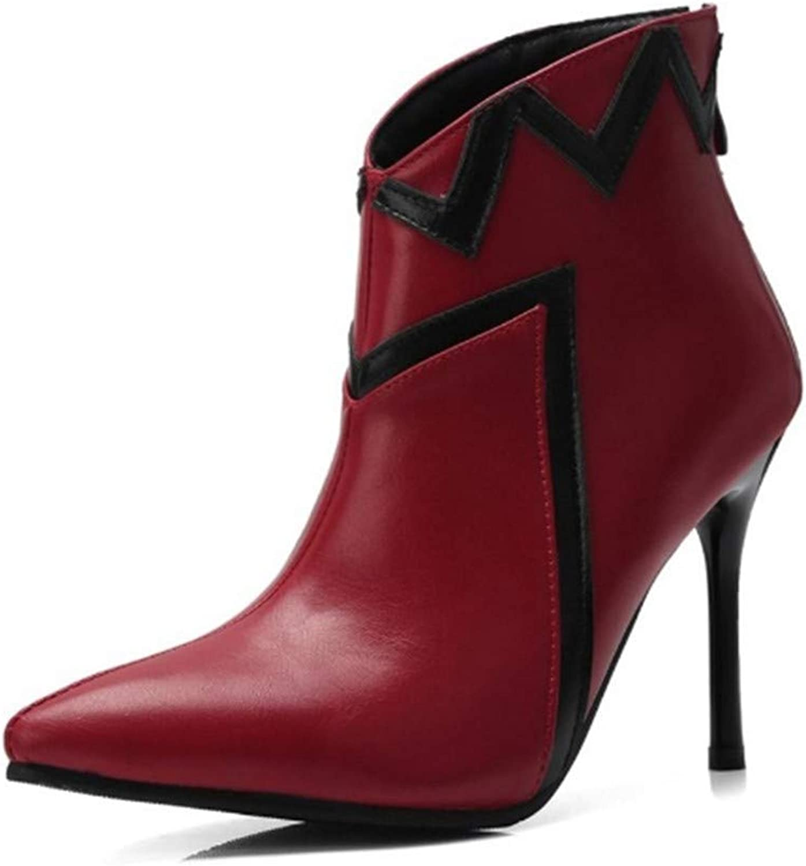 YSFU Stiefel Frauen Martin Stiefel Spitze Zehe Dünne Ferse Mode Mode Mode Schuhe Damen Stiefelies Stöckelschuhe Niedriger Absatz Casual Herbst Winter Outdoor  930971